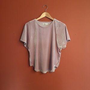 NWT Madewell grey pink short sleeve velvet blouse